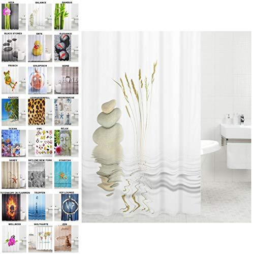 Sanilo Duschvorhang, viele schöne Duschvorhänge zur Auswahl, hochwertige Qualität, inkl. 12 Ringe, wasserdicht, Anti-Schimmel-Effekt (Balance, 180 x 180 cm)