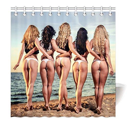 YISUMEI Hem Gewichte Vorhang Duschvorhang 180x180 cm Sexy Frau Frauen Strand Esel
