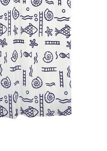 Ridder 46313S-350 Duschvorhang Textil ca. 180 x 200 cm, Neptun blau inklusive Ringe
