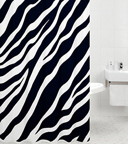 Duschvorhang Zebra 180 x 200 cm, hochwertige Qualität, 100% Polyester, wasserdicht, Anti-Schimmel-Effekt, inkl. 12 Duschvorhangringe