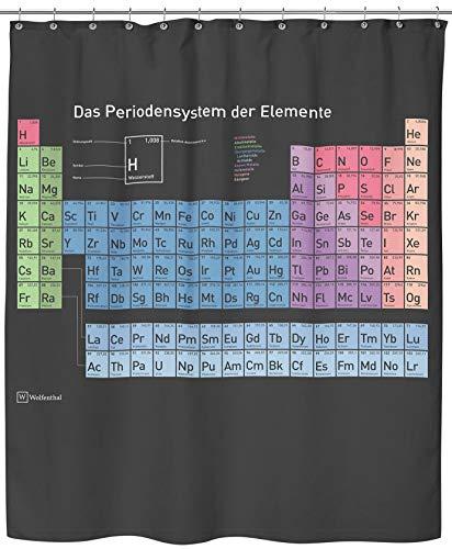 Wolfenthal Periodensystem Duschvorhang, 180x200 cm inkl. Haken, deutsche Beschriftung, Anti-Schimmel-Beschichtung, Stabile Metallösen, 100% Polyester, ohne Blei
