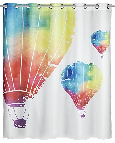 Wenko Schimmel Duschvorhang In The Air Flex Anti-Bakteriell, wasserabweisend, waschbar, schimmelresistent mit integrierter Hängeeinrichtung, Polyester, Mehrfarbig, 180 x 200 x 0.1 cm