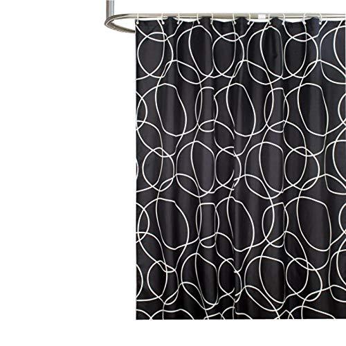 SonMo Duschvorhang Geometrie Runden Polyester Schwarz Wasserdicht Anti-Schimmel Anti-Bakteriellbadewanne Vorhang mit Duschvorhangringen Verdicken 120×200CM