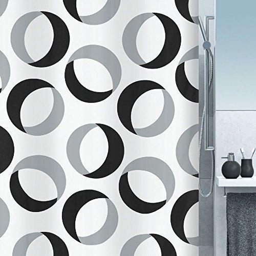 """Spirella Anti-Schimmel Duschvorhang """"Rings"""" Anti-Bakteriell, waschbar, wasserdicht Polyester 180x200cm weiß, grau, schwarz"""