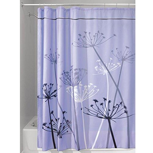mDesign Duschvorhang mit Löwenzahnmuster - ideales Badzubehör mit perfekten Maßen: 180 cm x 200 cm - langlebige Duschgardine - Farbe: lila / grau