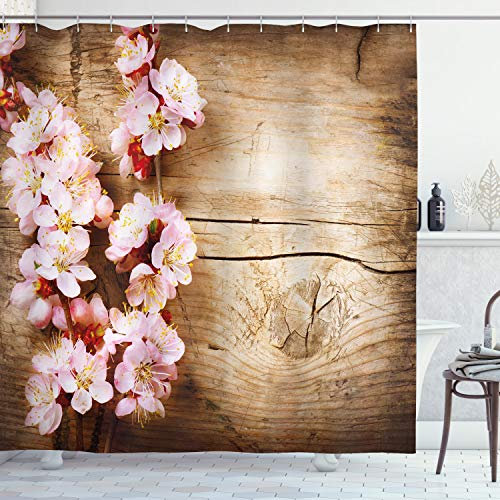 Abakuhaus Blumen Duschvorhang, Spring Blossom Orchard, Waschbar und Pflegeleicht mit 12 Haken Hochwertiger Druck Farbfest Langhaltig, 175 x 200 cm, Sand Braun Hellrosa