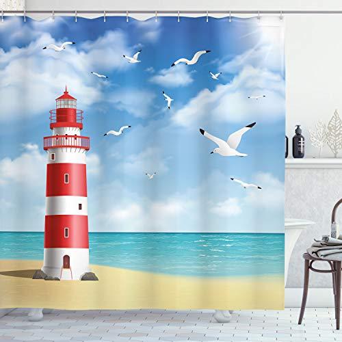 ABAKUHAUS Strand Duschvorhang, Leuchtturm Möwen Ozean, Klare Farben aus Stoff inkl.12 Haken Farbfest Schimmel und Wasser Resistent, 175 x 180 cm, Rubin Blau