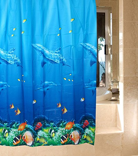 SKL Duschvorhang, Badezimmer, Badewanne, Umweltfreundlich, Anti-Schimmel, Anti-Bakteriell, Schimmelresistent Duschvorhang - Delphin Gemustert -Blau- 180 x 180 cm (71 x 71 Zoll)