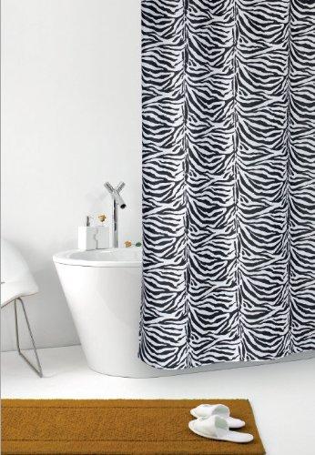 Duschvorhang Zebra weiß schwarz Zebrastreifen Textil 180cm breit x 200cm lang inkl. Ringe