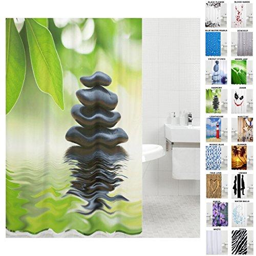 Duschvorhang, viele schöne Duschvorhänge zur Auswahl, hochwertige Qualität, inkl. 12 Ringe, wasserdicht, Anti-Schimmel-Effekt (Harmony, 180 x 180 cm)
