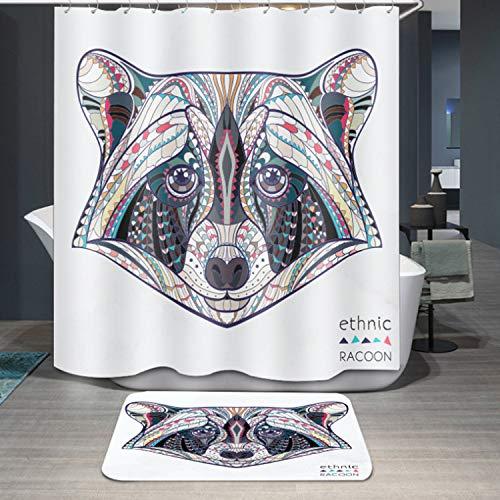 Bearony Mehrzweck Duschvorhang-Karikatur-Polyester-Wasserdichter Badezimmer-Vorhang des Waschbär-1PC (Größe : 180 * 200cm)