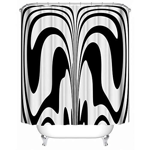 """HUIYIYANG Duschvorhang Kunst Badezimmer Dekor, Moderne schwarz weiße abstrakte Form Muster,wasserdicht Mehltau resistent 48""""x 72"""" - Polyester Stoff Bad Vorhänge"""