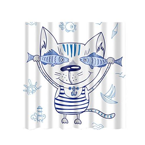 MagiDeal Duschvorhang, wasserdichter Duschvorhang, Extra Lange, aus Polyester - Meer Strand, 180x180cm