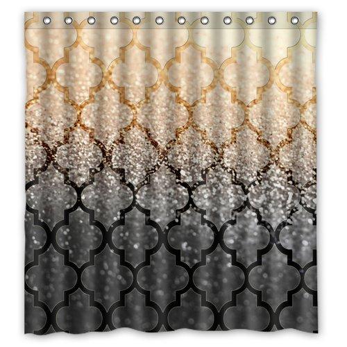"""Mexican Muster Gold und Schwarze Sand Bild Entwarf Besonders Polyester Gewebe Benutzerdefinierten Duschvorhang , 66"""" x 72"""" £¨about 168cm x 183cm)"""