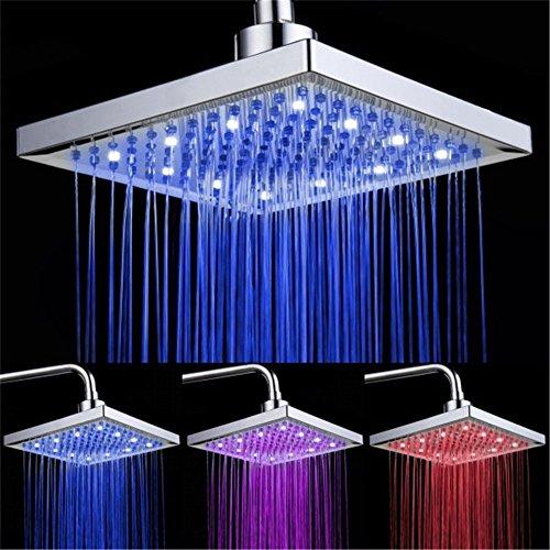 DELIPOP LED Duschkopf viereckig 20cm Temperatur Control 3 Farbwechsel Wasser Flow Powered ABS Chrome Finish 12 LEDs für Badezimmer