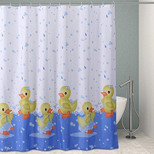 3D Gelb Enten Duschvorhang Anti-Schimmel & Wasserdicht Polyester Badezimmer Duschvorhang mit Haken 180x200cm