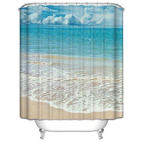 Badezimmer Duschvorhang, Top Qualität Anti-Schimmel Duschvorhänge Digitaldruck inkl. 12 Duschvorhangringe, 180x200cm (Meer und Strand)
