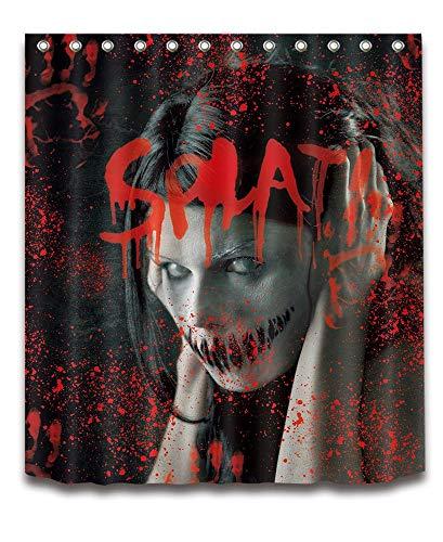 LB Halloween Duschvorhang Blutige Hand, Scary Frau Zombie, 150cm x180cm Wasserdicht Polyester Stoff Badezimmer Duschvorhang Set mit Haken, Keine Rod