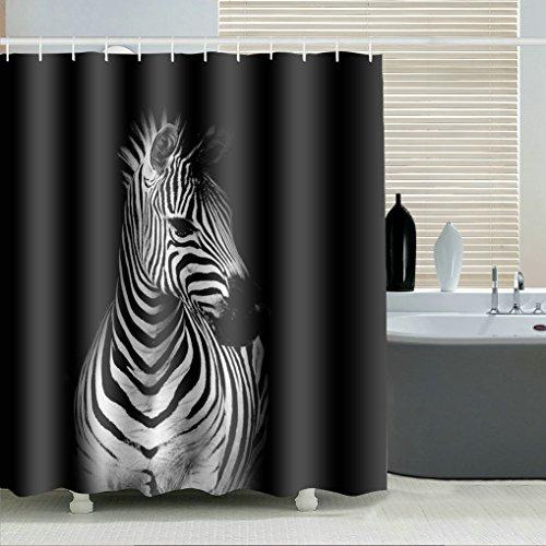 GuDoQi Duschvorhänge Zebra Drucken Polyester Wasserdicht Mehltauresistent Mit 12 Haken Für Die Badezimmerdekoration