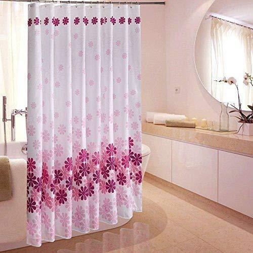 Schön Gedruckte Blume Schimmel-Beweis Wasserdicht Polyester Duschvorhang mit Haken Rosa 180x180cm