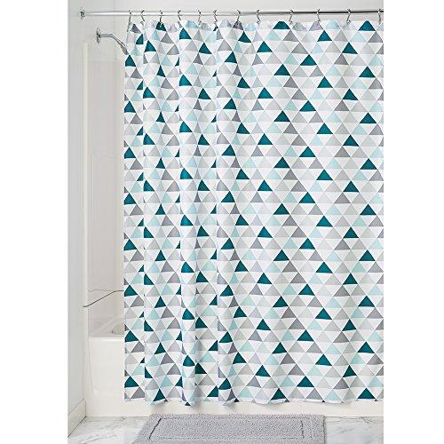 iDesign Triangles Duschvorhang | Vorhang für Dusche und Badewanne | cooler Duschvorhang mit Triangel-Muster in 183,0 cm x 183,0 cm | Polyester türkis/mint