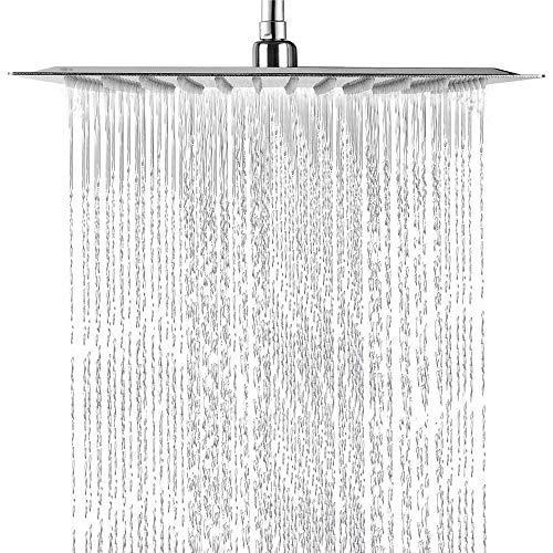 Panasole Regendusche Duschkopf Edelstahl Regenbrause Anti-Kalk-Düsen Duschkopf Wasserfall Quadratisch Regenduschkopf 30 x 30 cm / 12 Zoll