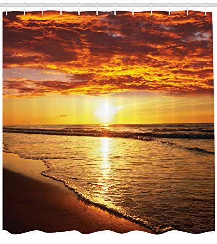 Abakuhaus Duschvorhang, Seelandschaft in Hawaii Strand mit Sonnenuntergang mit Romantischen Sonnenstrahlen als Druck, Blickdicht aus Stoff inkl. 12 Ringe für Das Badezimmer Waschbar, 175 X 200 cm