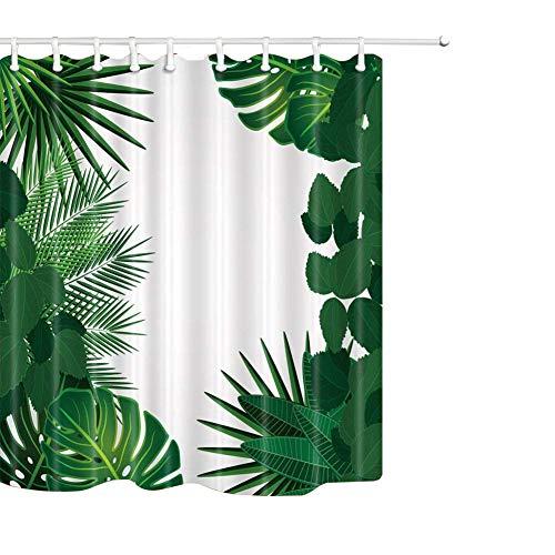 QEES bunter Duschvorhang Künstlerische Bilder Wasserdichter Dusche Vorhang aus Polyster Anti-Schimmel Textilien Wasserabweisend Mit Ringen YLB04 (Grüne Blätter)