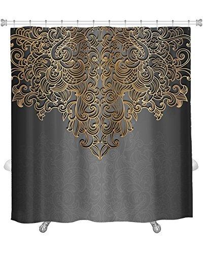 Duschvorhang, elegant schwarz und gelb/gold Design, gn1776441