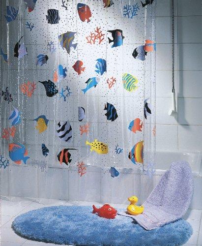 """Spirella Anti-Schimmel Duschvorhang """"Fish Multicolor"""" Anti-Bakteriell, waschbar, wasserdicht Vinyl 180x200cm"""