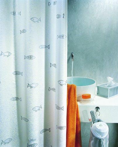 Spirella Textil-Duschvorhang Kos Silber 180 x 180 cm
