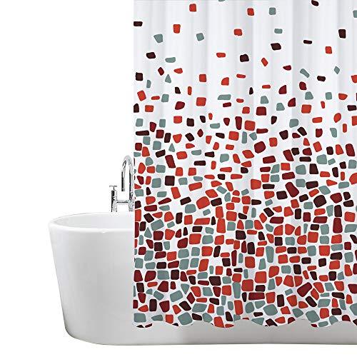 Duschvorhang, Badezimmer, Badewanne, Umweltfreundlich, Waschbarer, Anti-Schimmel, Anti-Bakteriell, Schimmelresistent Duschvorhang - Mosaik gemustert - Rot - 180 x 180 cm (71 x 71 Zoll) | 100% Polyester