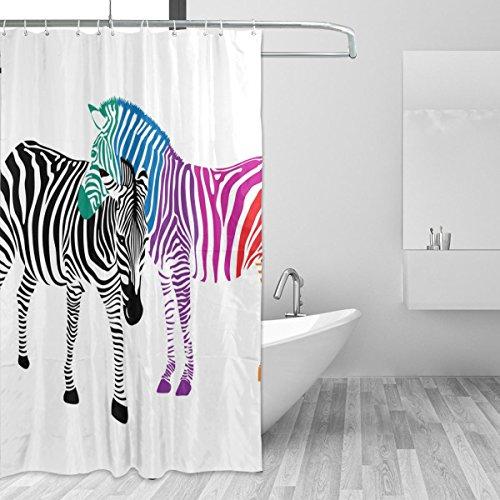 jstel Zebra Paar schwarz und bunte Duschvorhang Schimmelresistent und Polyester-Wasserdicht-182,9x 182,9cm für Home Extra Lang Badezimmer Deko Dusche Bad Vorhänge Liner mit 12Haken