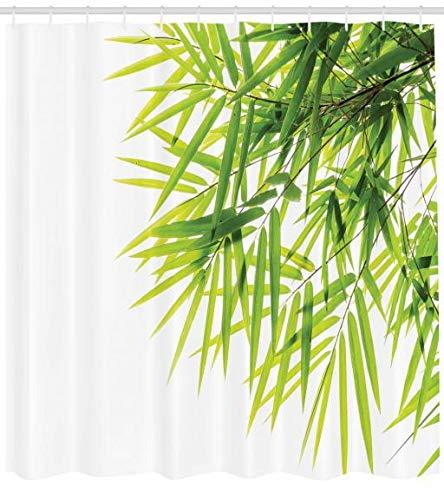 Abakuhaus Bambus Duschvorhang, Bambusblatt-Friedensikone, Moderner Digitaldruck mit 12 Haken auf Stoff Wasser und Bakterie Resistent, 175 x 220 cm, Grün-weiß