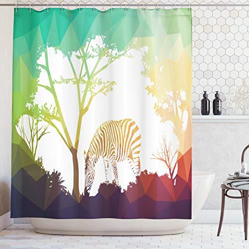 Abakuhaus Duschvorhang, Digitale Zebra Figur in der Natur Lebendige Farben Ein Blick auf Kenia Illustration Druck, Blickdicht aus Stoff mit 12 Ringen Waschbar Langhaltig Hochwertig, 175 X 200 cm