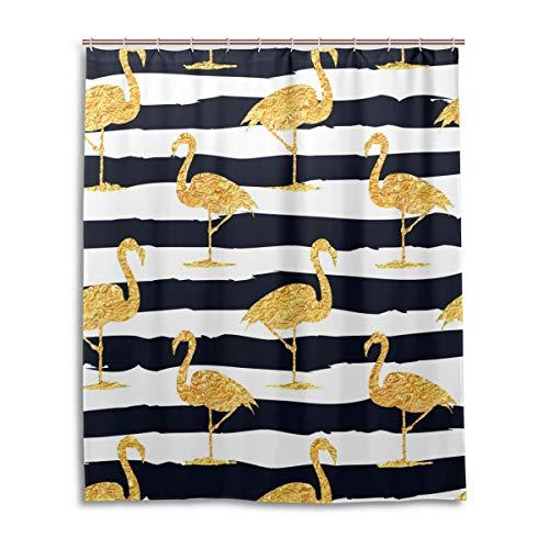 JSTEL Decor Duschvorhang Gold Flamingo Muster Print 100% Polyester Stoff Duschvorhang 152,4 x 182,9 cm für Home Bad Deko Duschvorhang