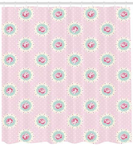 Abakuhaus Duschvorhang, Retro Tupfen Hintergrund und Blumenmotiv Rosen Naturliches Feminines Muster Pink Digital Druck, Wasser und Blickdicht aus Stoff mit 12 Ringen Bakterie Resistent, 175 X 200 cm