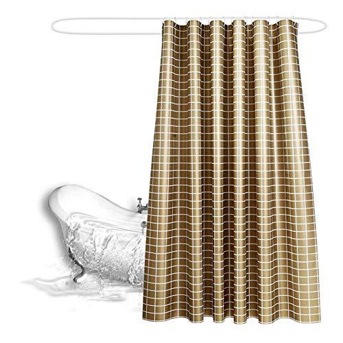 Duschvorhang, breiter Duschvorhang, schimmelresistent, wasserdicht, waschbar, beschwerter Duschvorhang-Set mit Ringen, lange Duschvorhänge, Polyester, gold, 180x180CM