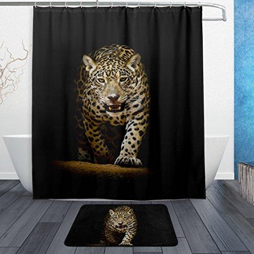 ALAZA Leopard-Duschvorhang 60 x 72 Zoll mit Badematte Teppich & Haken, schimmelresistent und wasserdicht Polyester Dekoration Badezimmer-Vorhang Set