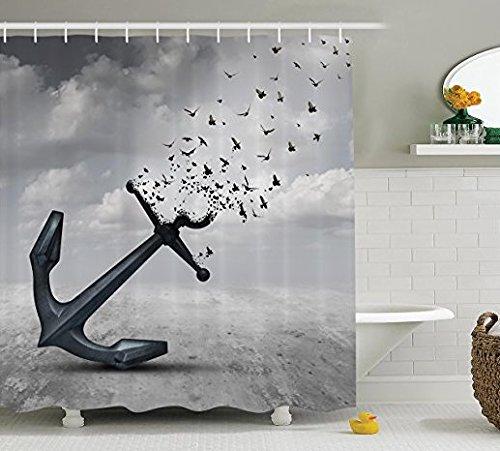 Grau Vorhang für die Dusche Flying Birds Decor von ormis, Anker in Flying Gruppe der Vögel Möwen für Freiheit und Hope Stimmung, Stoff Badezimmer Duschvorhang Set mit Haken (183cm x 183cm)