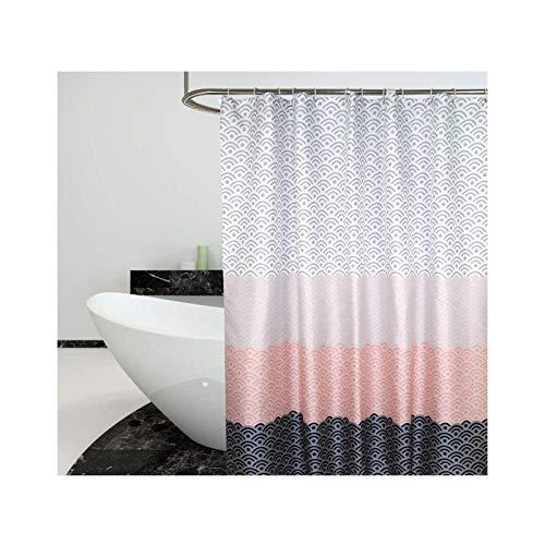 SonMo Duschvorhang Welle Mehrfarbig Polyester Bunt Anti-Bakteriell Anti-Schimmel Wasserdichtbad Vorhang für Badezimmer Badewanne mit Duschvorhangringen Verdicken 240×200CM