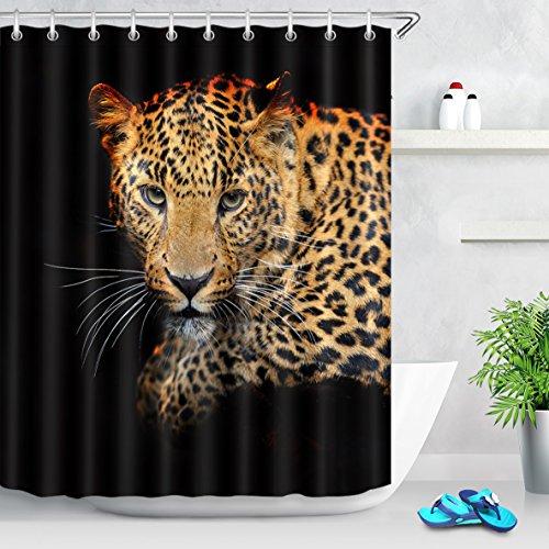 Tier Leopard schwarz gelb Duschvorhang für Badezimmer Wohnaccessoire 150 Breite x 180 Höhe cm