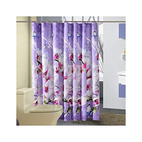 SonMo Duschvorhang Schmetterlings-Orchidee Blume Polyester Lila Anti-Schimmel Wasserdicht Anti-Bakteriellbadezimmer Vorhang mit Duschvorhangringen 120×200CM