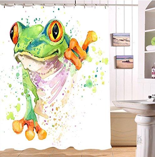 LB Frosch Duschvorhang 180X180cm Lustig Tier,Grün,Weiß Bad Vorhänge mit Haken,Wasserdicht Anti Schimmel Polyester Stoff Badezimmer Deko