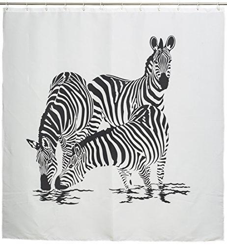 """Duschvorhang mit Afrika Motiv - Weiß """"Zebra Family"""" Design 180 x 180 cm - Dusch-Vorhang als Geschenkidee - Grinscard"""