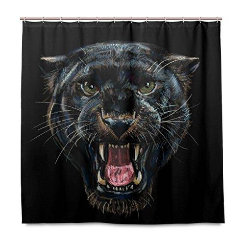 Yibaihe Dusche Vorhänge, Brüllender Schwarz Panther Polyester Stoff Gedruckt Schimmelresistent Wasserdicht für Badezimmer Badewanne, 12Haken 183x 183cm
