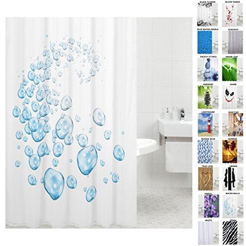 Duschvorhang, viele schöne Duschvorhänge zur Auswahl, hochwertige Qualität, inkl. 12 Ringe, wasserdicht, Anti-Schimmel-Effekt (Water Bubbles, 180 x 200 cm)