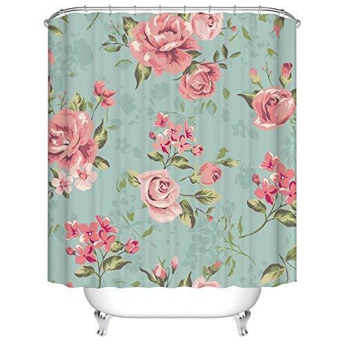 Badezimmer Duschvorhang, Top Qualität Anti-Schimmel Duschvorhänge Digitaldruck inkl. 12 Duschvorhangringe, 180x200cm (Rosa Rose Blume mit Blättern)