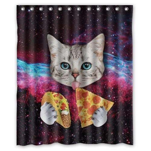 PETGOOD Duschvorhang Lustige Galaxy Cat Essen Pizza viele schöne Duschvorhänge zur Auswahl, hochwertige Qualität, Wasserdicht, Anti-Schimmel-Effekt 180 x 180 cm