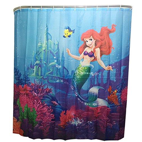 Duschvorhang Shower Curtain mit 12 Duschvorhangringe anti schimmel wasserdicht (Meerjungfrau)